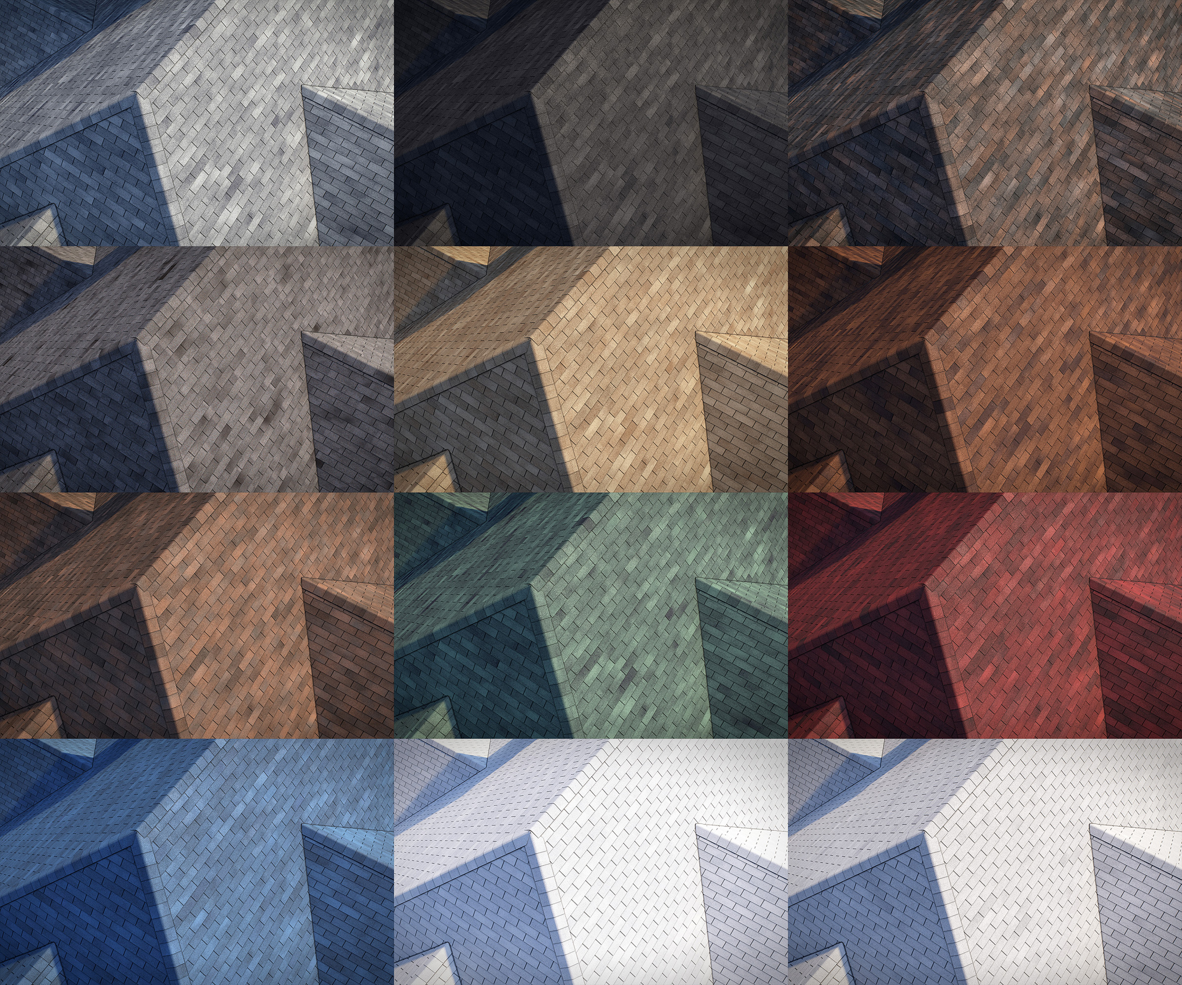 3-tab asphalt roof shingles 3D model preset for 3dsmax and RailClone. Rendered with vray, made for arch-viz.