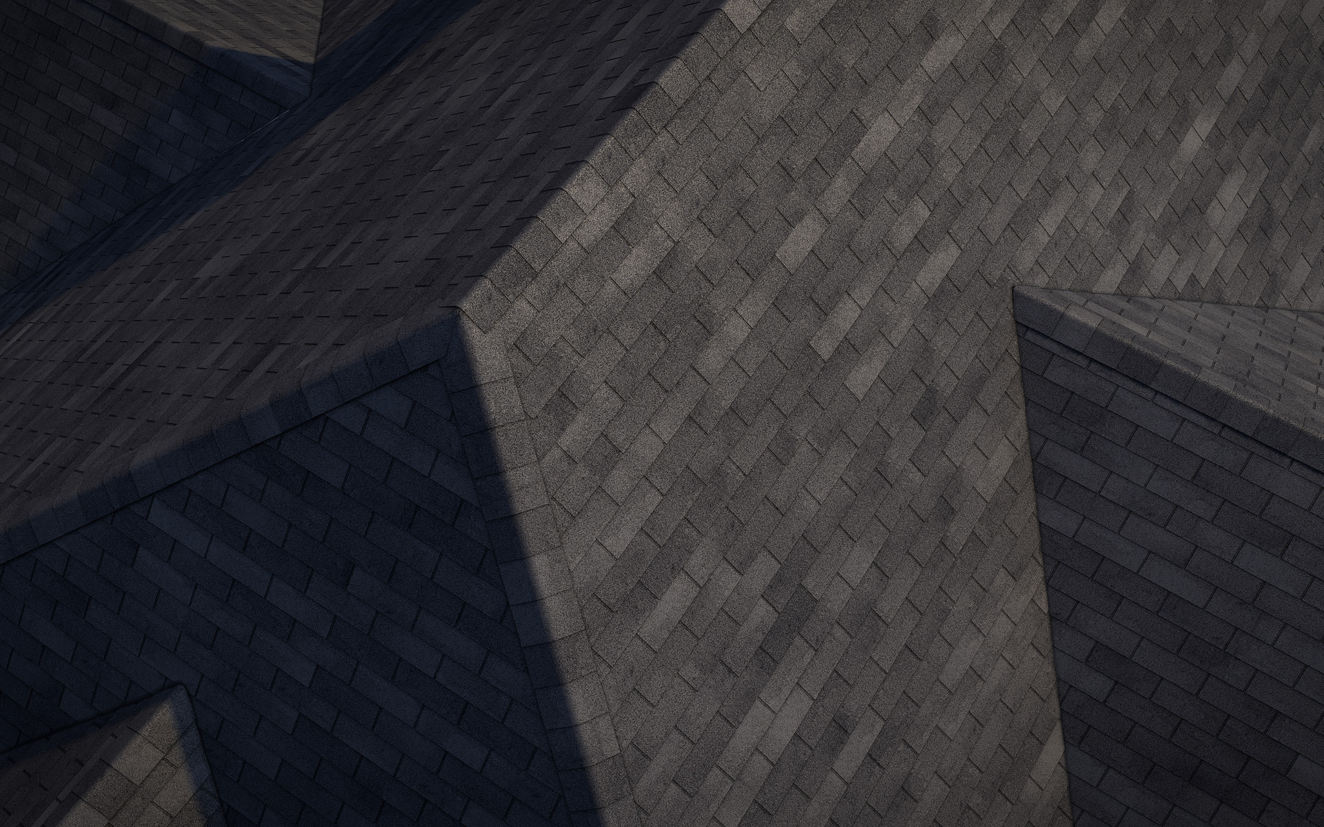 3-tab asphalt roof shingles black color 3D model preset for 3dsmax and RailClone. Rendered with vray, made for arch-viz.