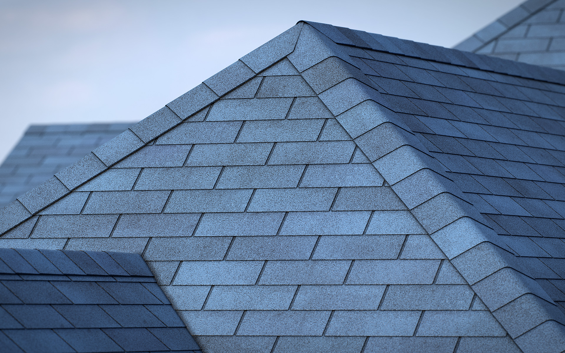 3-tab asphalt roof shingles blue color 3D model preset for 3dsmax and RailClone. Rendered with vray, made for arch-viz.