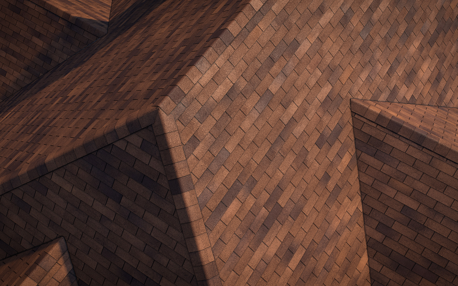 3-tab asphalt roof shingles brown2 color 3D model preset for 3dsmax and RailClone. Rendered with vray, made for arch-viz.