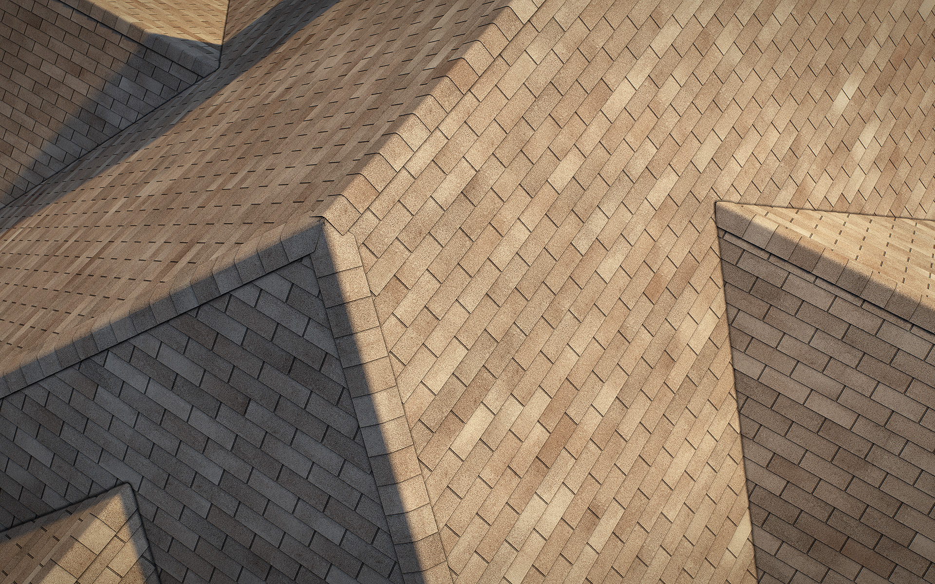3-tab asphalt roof shingles brown color 3D model preset for 3dsmax and RailClone. Rendered with vray, made for arch-viz.