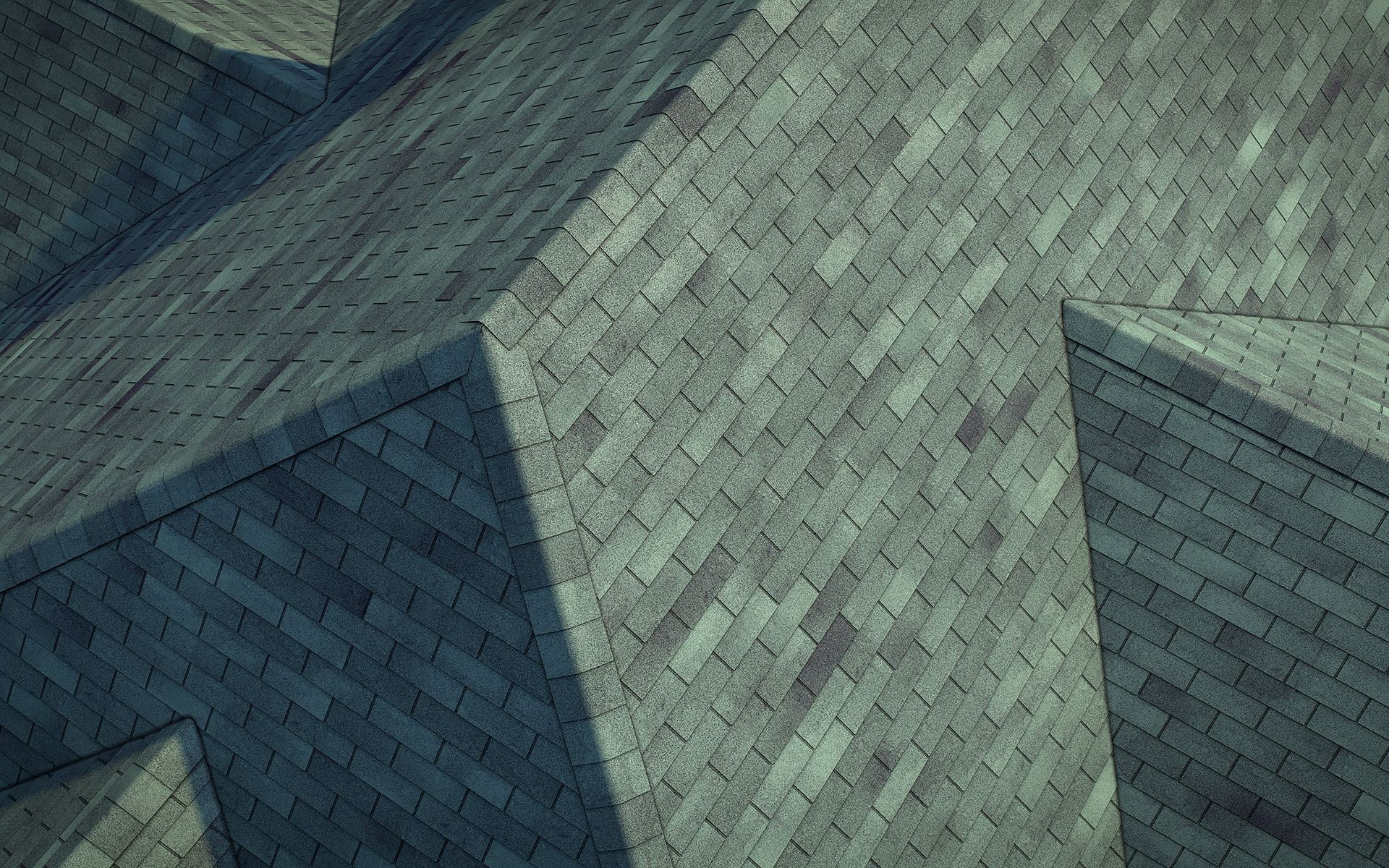 3-tab asphalt roof shingles green color 3D model preset for 3dsmax and RailClone. Rendered with vray, made for arch-viz.