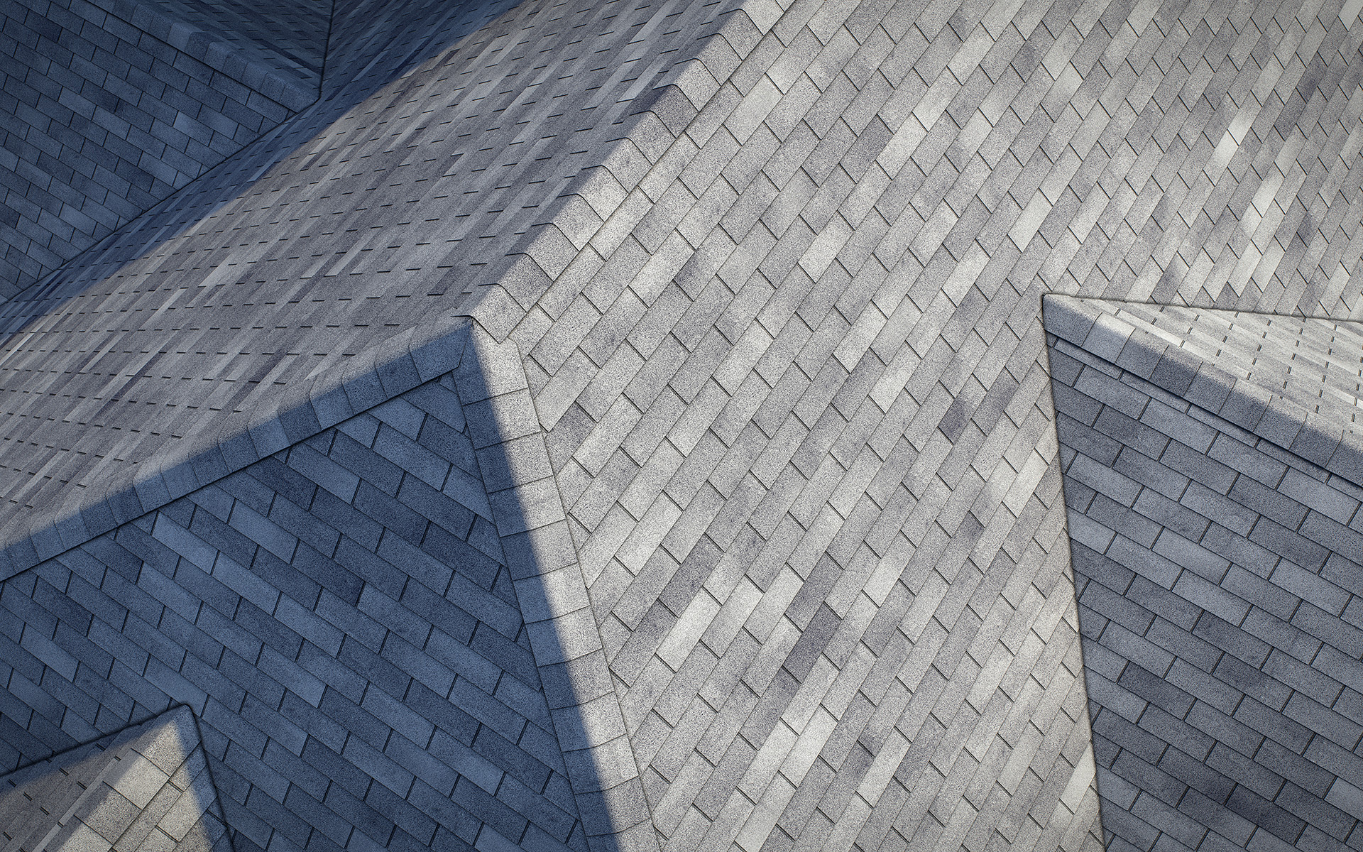 3-tab asphalt roof shingles grey color 3D model preset for 3dsmax and RailClone. Rendered with vray, made for arch-viz.