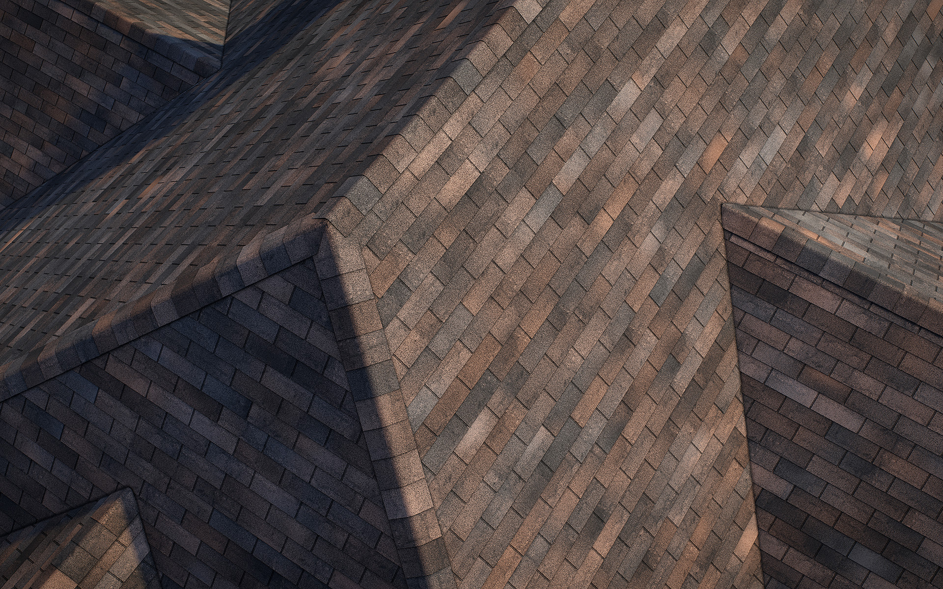 3-tab asphalt roof shingles oakwood color 3D model preset for 3dsmax and RailClone. Rendered with vray, made for arch-viz.