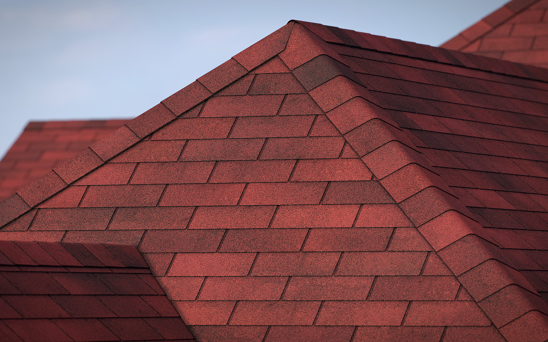 3-tab asphalt roof shingles red color 3D model preset for 3dsmax and RailClone. Rendered with vray, made for arch-viz.