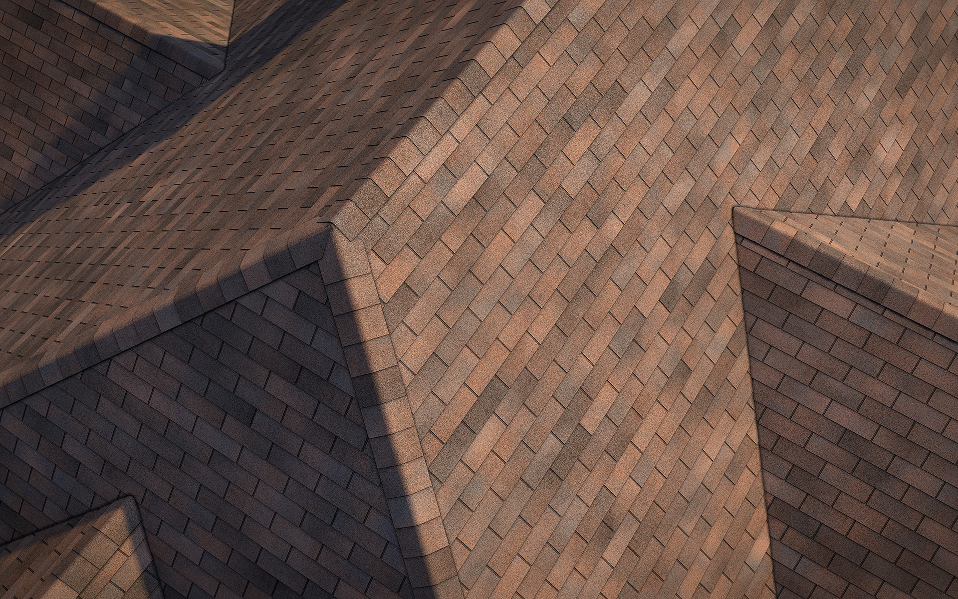 3-tab asphalt roof shingles rustic color 3D model preset for 3dsmax and RailClone. Rendered with vray, made for arch-viz.