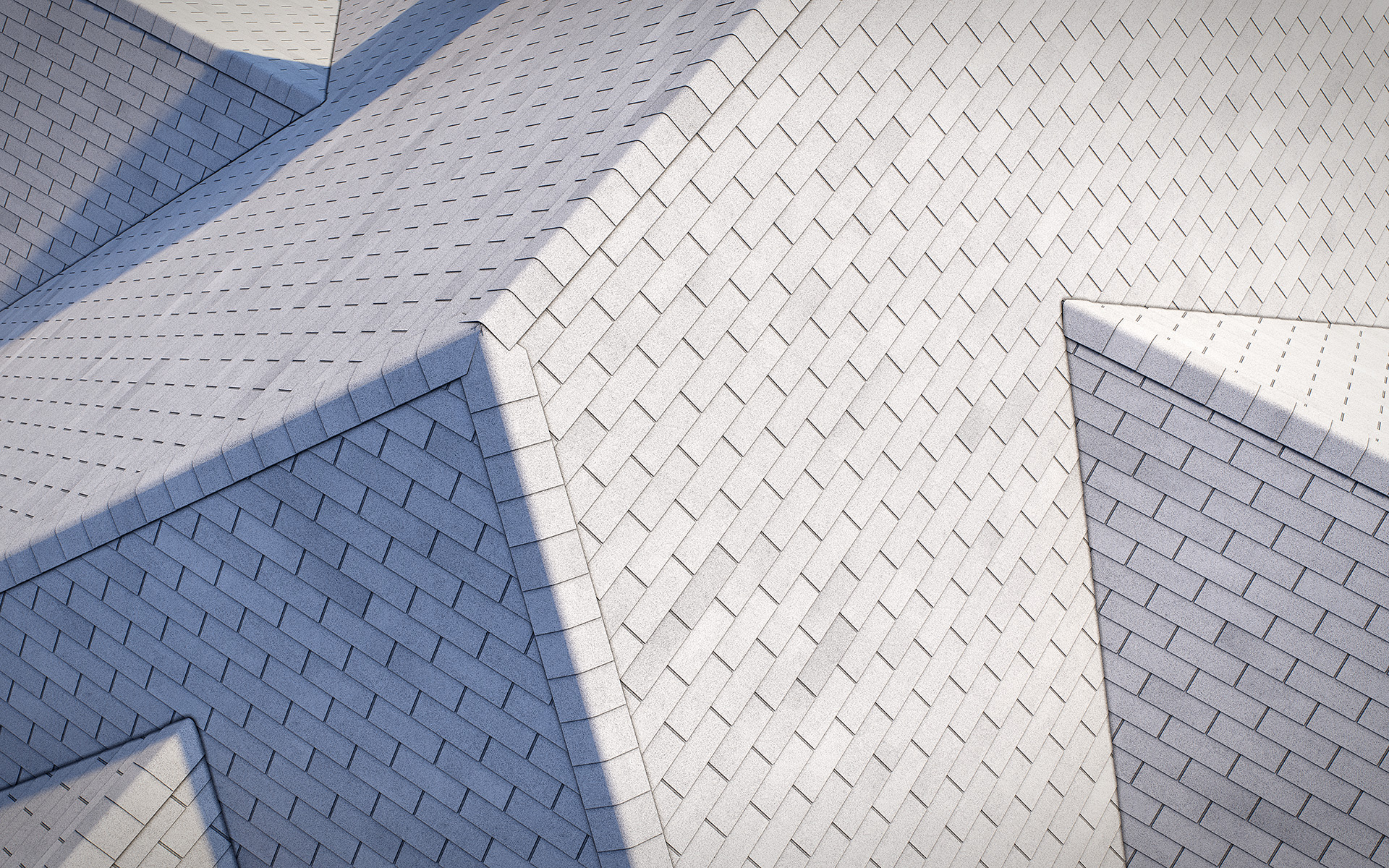 3-tab asphalt roof shingles white2 color 3D model preset for 3dsmax and RailClone. Rendered with vray, made for arch-viz.