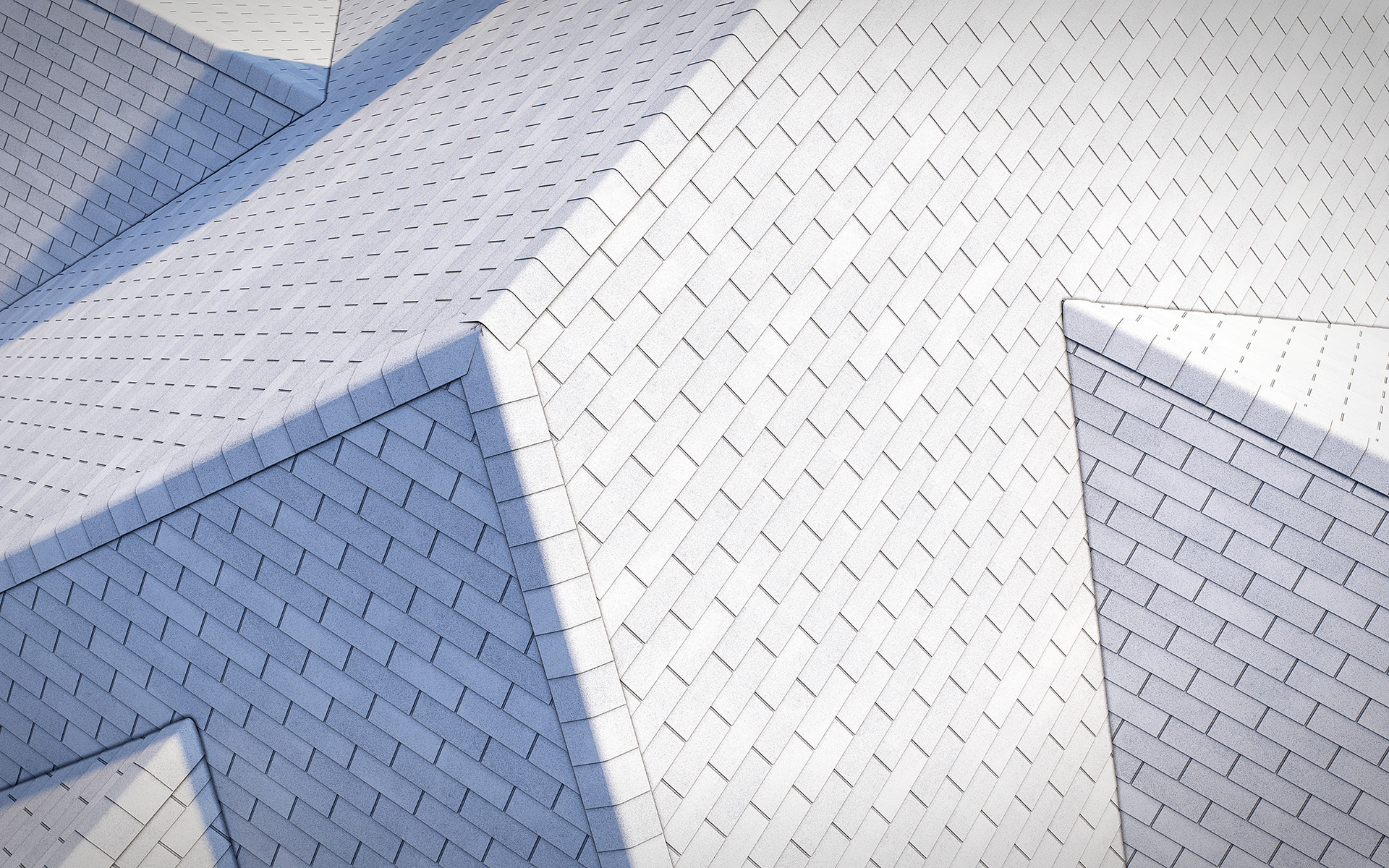 3-tab asphalt roof shingles white color 3D model preset for 3dsmax and RailClone. Rendered with vray, made for arch-viz.