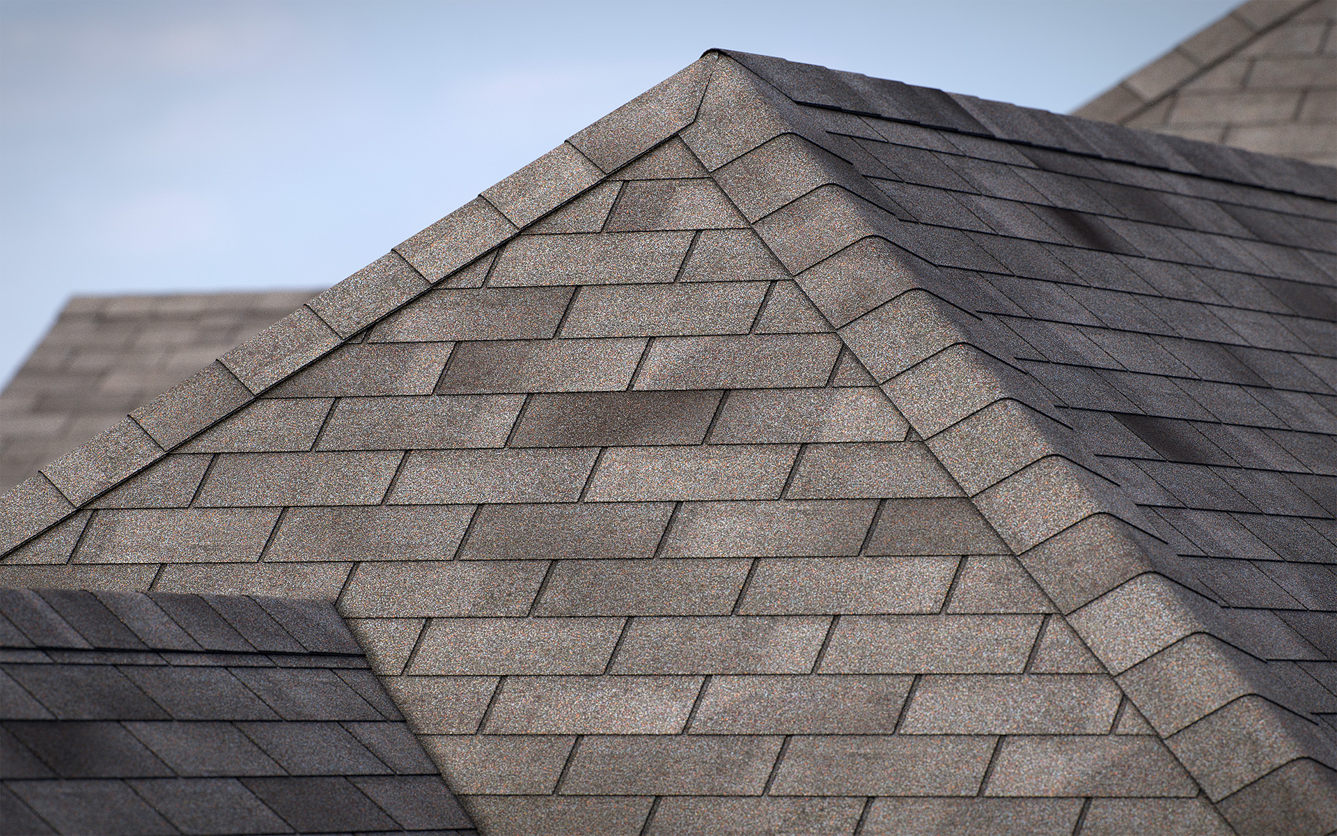 3-tab asphalt roof shingles wood color 3D model preset for 3dsmax and RailClone. Rendered with vray, made for arch-viz.