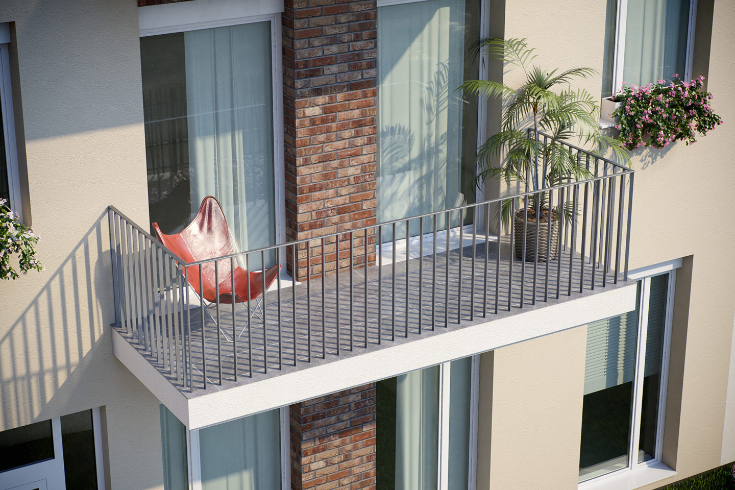 Basic Adjustable Railing preset for RailClone and 3dsmax