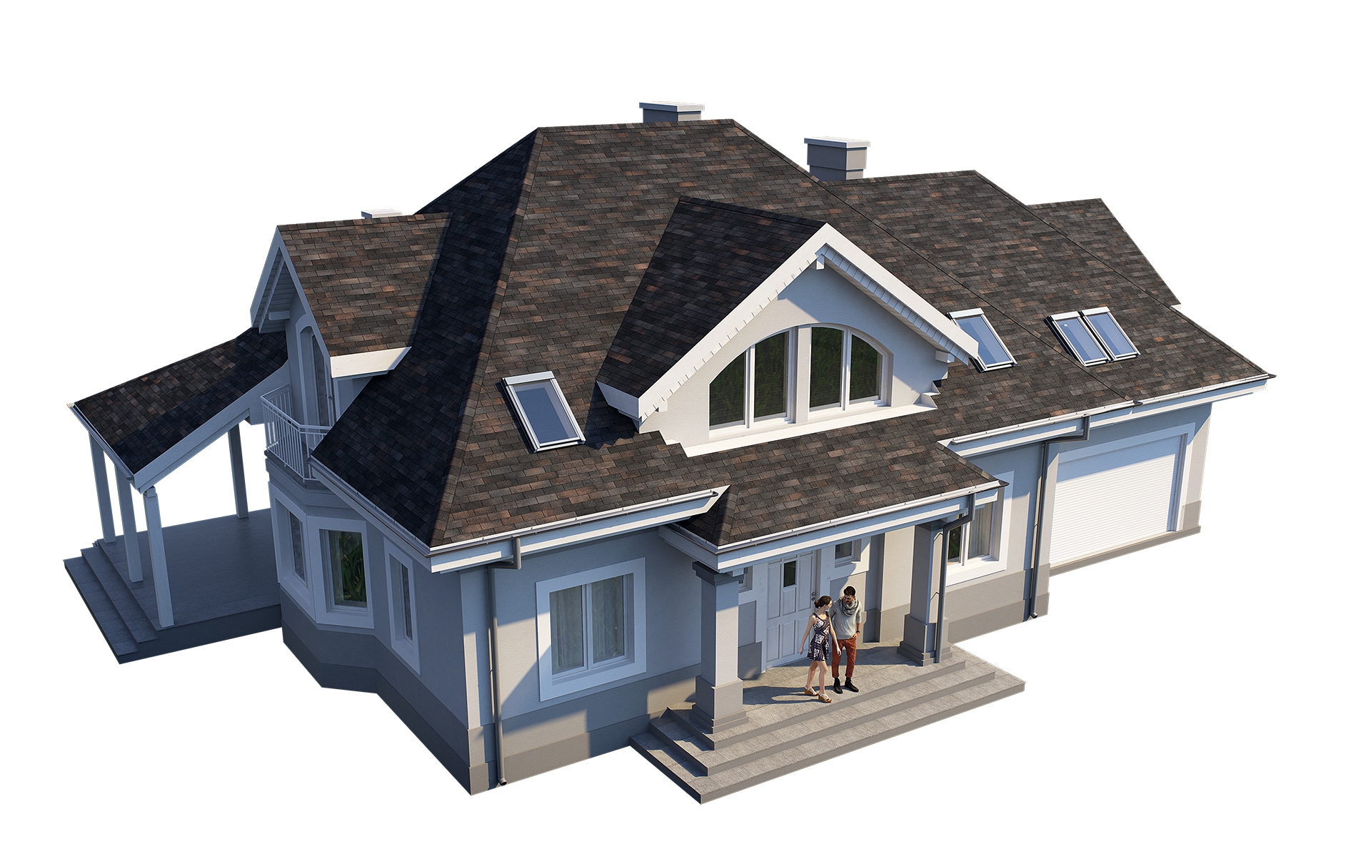 3-tab asphalt roof shingles preset for 3dsmax and RailClone on a 3D model of a House. Rendered with vray, made for arch-viz.